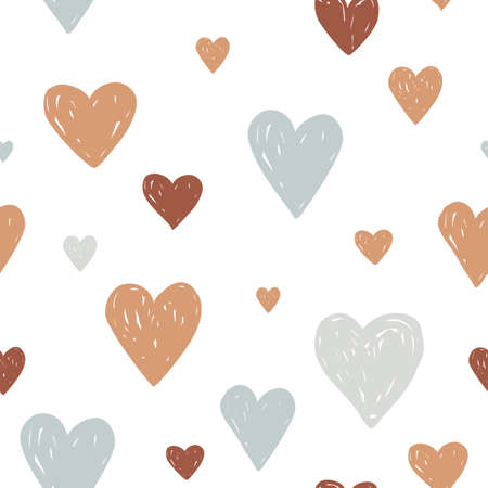 Modern pastel colored seamless pattern with hand drawn hearts for Valentine day or kids design. Cute minimalistic scandinavian cartoon elements isolated on white background