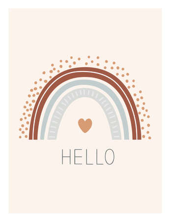 Cartoon rainbow with Hello phrase. Cute kids poster, card, or print in nordic style. Hand drawn vector illustration, design element for Scandinavian interior