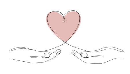 Single continuous line drawing of hands holding a heart on white background. Modern vector illustration for Valentine day banner, web, design element, template, postcard.
