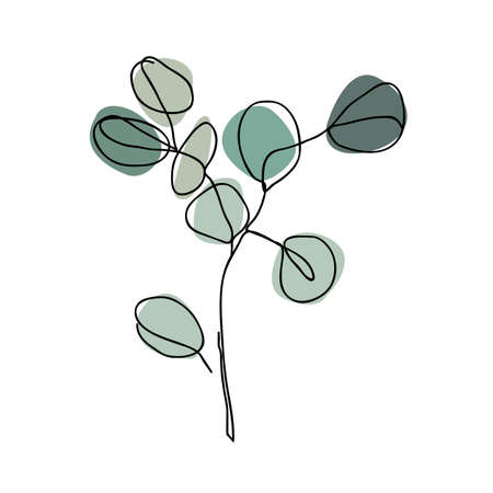 Eucalyptus branch in modern single line art style. Continuous line drawing, aesthetic contour for home decor, posters, wall art, tote bag or t-shirt, sticker. Vettoriali