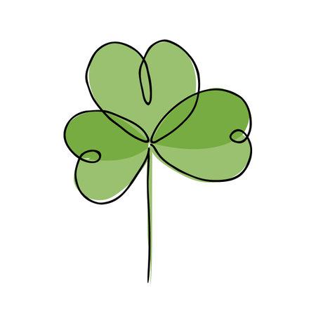 Vector illustration of Irish symbol of St Patrick Day. Continuous line drawing of shamrock leaf. Ilustração