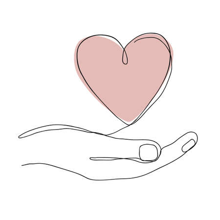 Single continuous line drawing of hand holding a heart on white background. Modern vector illustration for Valentine day banner, Donor Day or organ transplantation concept Ilustração