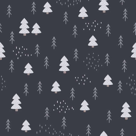 Seamless hand-drawn forest pattern in Scandinavian style. Kids vector abstract background for design and decoration textile, covers, package, wrapping paper