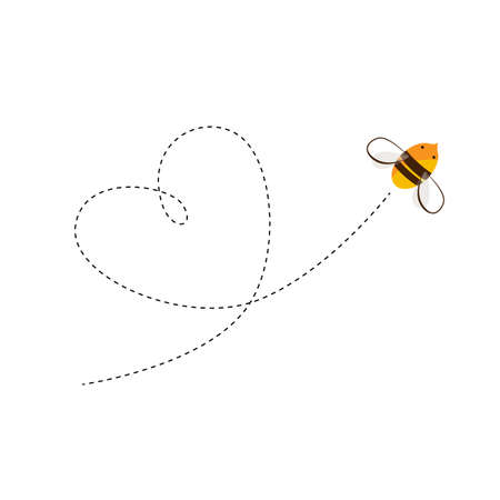 Flying bee and the heart shape flight trajectory. Vector cartoon illustration