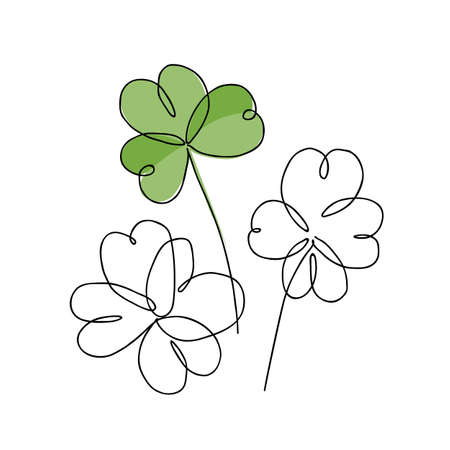 Continuous line drawing of shamrock leaves bouquet. Vector illustration of Irish symbol of St Patrick Day. Minimalism in design. Good for poster, banners and logotypes