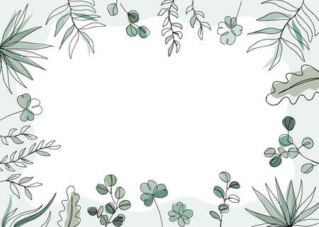 Floral vector illustration in trendy continuous line drawing style. Plants and leaves frame background with copy space for text