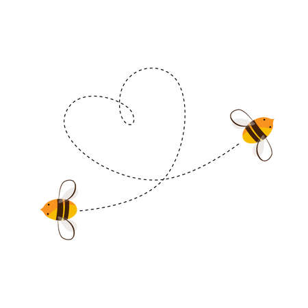 Two flying bee and their heart shape flight trajectory. Love or honey business concept. Vector cartoon illustration