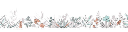 Floral seamless border in trendy continuous line drawing style and pastel colors. Plants and leaves frame background. Vector illustration Vettoriali
