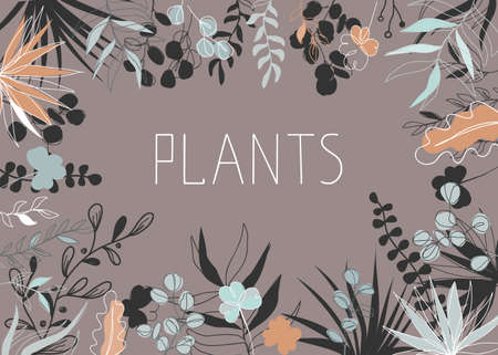 Floral vector illustration in trendy continuous line drawing style and pastel colors. Plants and leaves frame background with copy space for text