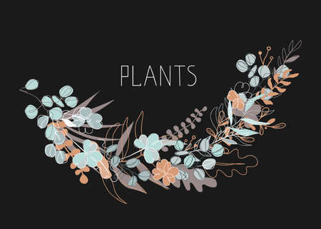 Abstract floral vector illustration on dark background. Trendy continuous line drawing style and pastel colors. Plants and leaves with copy space for text