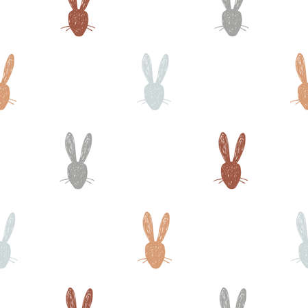 Cute hand drawn rabbit heads seamless pattern. Easter print for wallpaper or fabric. Vector illustration