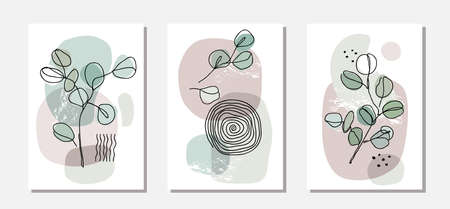 Botanical wall art vector set with eucalyptus branches. Modern continuous line drawing style. Pastel tone boho foliage line art drawing with abstract shape. Abstract Plant Art design