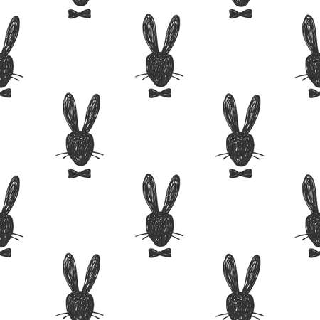 Hand drawn seamless pattern with silhouette portrait of Rabbit gentleman head with a bow tie. Easter concept, vector illustration on white background Vettoriali