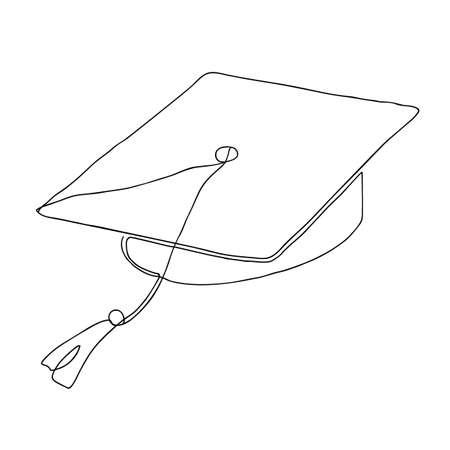 Single continuous line art graduation cap. Celebration ceremony or master degree concept, academy graduate design. One sketch outline drawing vector illustration art Vettoriali