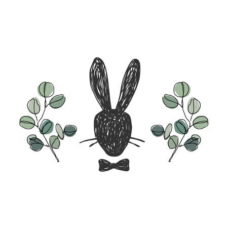 Hand drawn silhouette portrait of gentleman Rabbit head with a bow tie. Eucalyptus branches background. Easter concept, vector illustration isolated on white