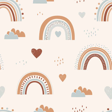 Seamless childish pattern with hand drawn rainbows and hearts. Creative scandinavian kids texture for fabric, wrapping, textile, wallpaper, apparel. Vector illustration