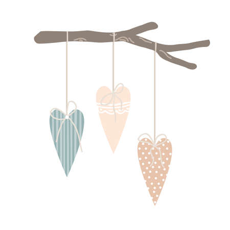 Easter or spring decor for home or cafe interior in Scandinavian style. Textile hearts hanging on a wooden forest stick. Vector illustration
