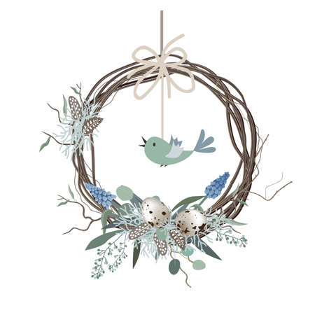 Happy Easter card, wreath in Scandinavian style with colored eggs and bird feathers. Spring decor. Hand drawn vector illustration isolated on white background