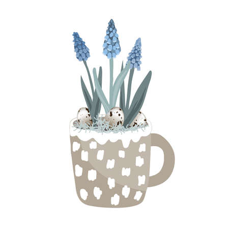 Cute mug with blue grape hyacinth, quail eggs, and moss. Hello spring card vector illustration, Easter card, decor in Scandinavian style. Flower pot with muscari isolated on white background