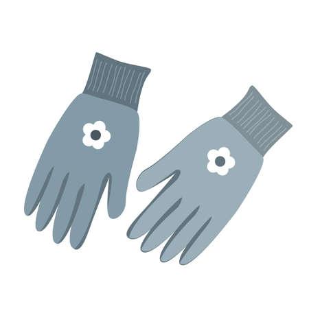Vector illustration of gardening gloves isolated on white background Vettoriali