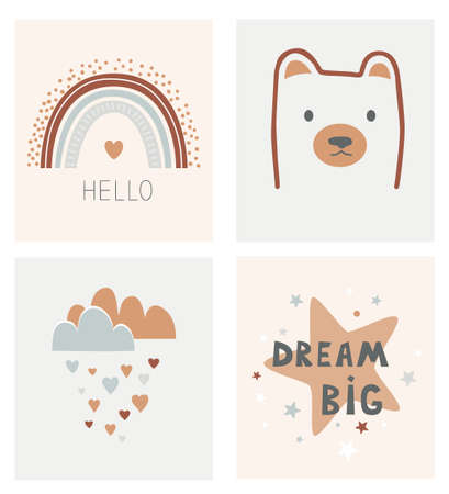 Kids Scandinavian poster set. Cartoon star, little bear head, hearts cloud, and cartoon rainbow with Hello phrase. Cards in Nordic style. Hand drawn vector illustration, design element for interior