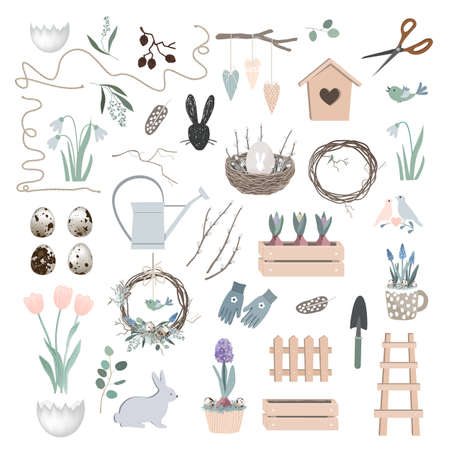 Vector Scandinavian Easter set with spring decor, garden tools, bunny figure, willow branches, eggs, and nest. Season design elements collection Vettoriali