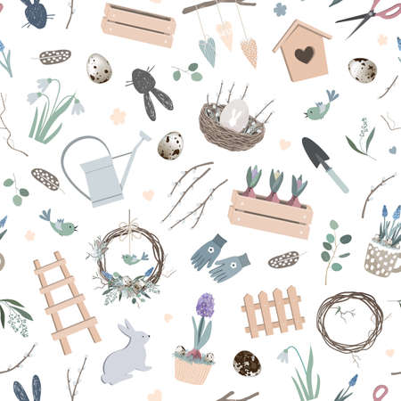 Scandinavian Easter seamless pattern with spring decor, hand made wreath, garden tools, bunny figure, willow branches, eggs, and nest. Vector Season background