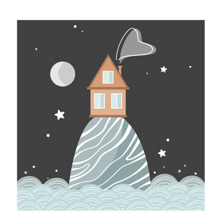 Stylish card with cartoon house on the hill at night, Scandinavian style. Vector illustration isolated on white 向量圖像