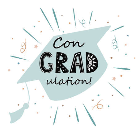 Congratulations on graduation, graduate cap with congradulation lettering in Scandinavian style. Greeting card for graduation party