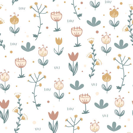 Doodle floral seamless pattern. Scandinavian style print with cute flowers. Trendy vector happy illustration background, textile and stationery design