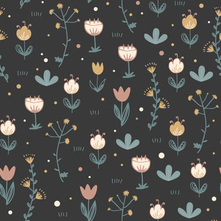 Doodle floral seamless pattern. Scandinavian style print with cute flowers on dark background. Trendy vector happy illustration, textile and stationery design