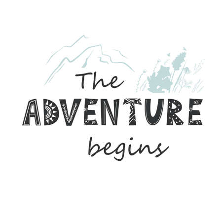 The Adventure begins lettering in Scandinavian Style. Vector illustration with mountains and flowers 向量圖像