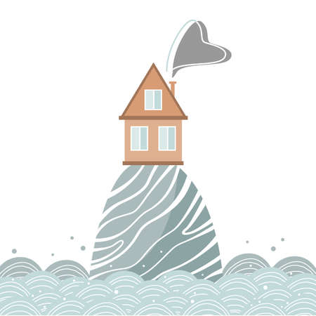 Stylish card with cartoon house on the hill in the sea, Scandinavian style. Vector illustration isolated on white