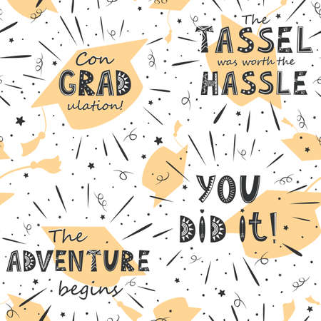 Graduation seamless pattern with flying hats and inspirational lettering. Black and golden vector background for graduation party or ceremony invitation, greeting card or web page and poster design