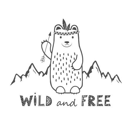 Cute Bear on the mountains background and Wild and Free phrase. Vector card with Lettering in Scandinavian style. Cartoon tribal Animal print design
