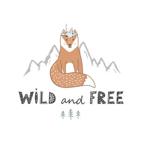 Wild and free lettering with cute fox hand drawn in Scandinavian style. Vector illustration isolated on white. Animal wildlife. Wall art for poster, card, t-shirt, textile, print, home decor, and more