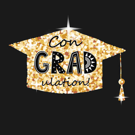 Congratulations on graduation, golden graduate cap with congradulation lettering in blackbackground. Greeting card for graduate party 向量圖像