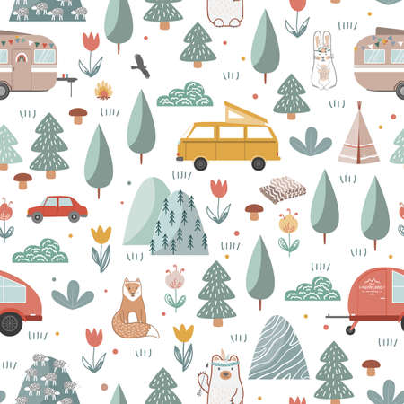 Hand drawn seamless pattern with summer camping equipment. Trailers, mountains, trees, and animals in Scandinavian style. Cartoon background