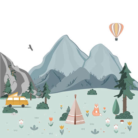 Summer camping landscape. Morning in the mountains. Weekend in the tent. Hiking and camping. Vector flat illustration