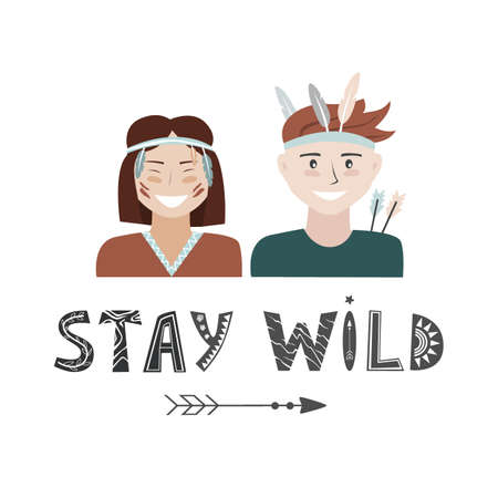 Kids in Native Indian headbands and Stay Wild lettering in Scandinavian style. Boy and Girl Having Fun Vector Set, adventure background 向量圖像
