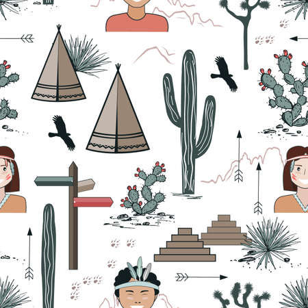 Seamless pattern with Kids in Native Indian headbands, tepee, and cacti. Saguaro, opuntia, and wigwams. Vector illustration