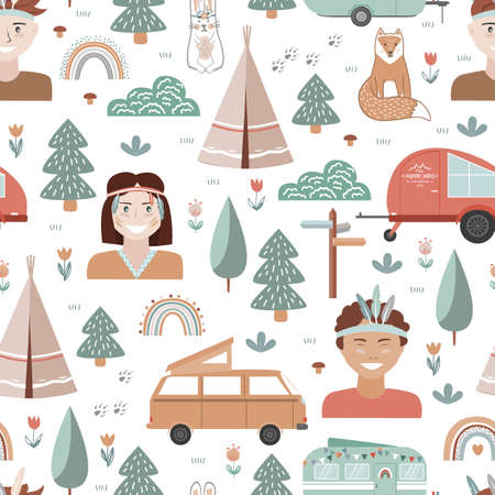 Hand drawn seamless pattern with summer camping equipment and kids dressed in tribal style. Trailers, trees, and animals in Scandinavian style. Cartoon background