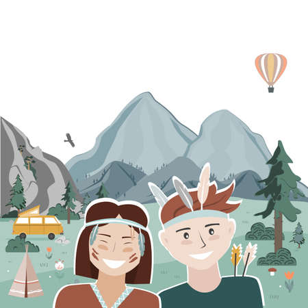 Summer camping landscape with happy kids dressed in tribal clothing. Mountains background. Weekend in the trailer. Cartoon vector flat illustration