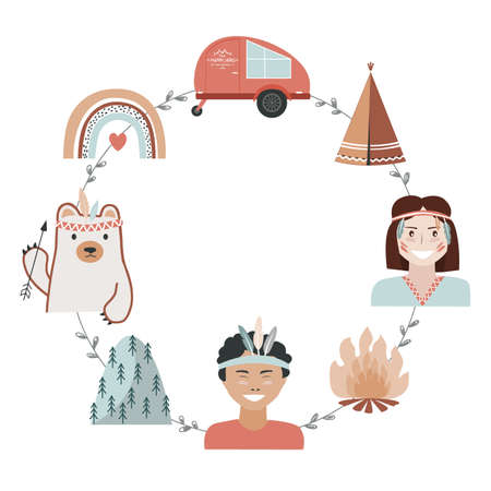 Kids camping concept in tribal style, adventure frame with place for text. Recreation and outdoor travel background, vector illustration