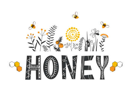 Honey lettering surrounded by bees and doodle flowers. Vector stylized background on a white background. 向量圖像