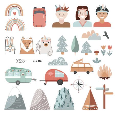 Set of summer, camping equipment, landscape elements, and kids dressed in tribal style. Trailers, trees, and animals in Scandinavian style. Cartoon flat illustration
