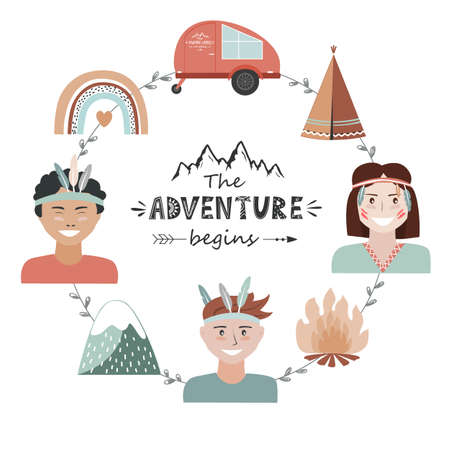 Kids camping concept in tribal style, adventure frame with The Adventure Begins lettering. Recreation and outdoor travel background, vector illustration