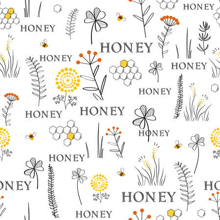 Vector nature seamless background with hand drawn wild herbs, flowers and leaves on white. Doodle style floral illustration 向量圖像