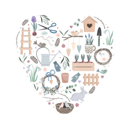 Colorful vector heart made of cute funny garden tools, clothes and vegetables. Can be used for fabrics, wallpapers, patterns, stickers, cards, design and decoration.