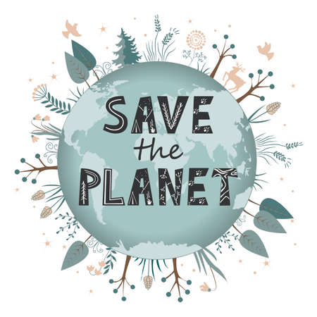 Save our planet earth, ecology eco environmental protection, climate changes, Earth Day April 22. Vector isolated illustration, Scandinavian lettering 向量圖像